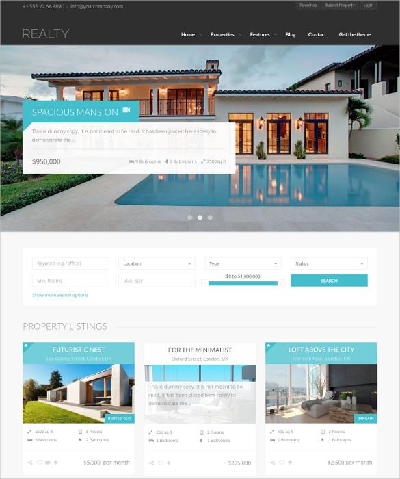 unique real estate wordpress theme1