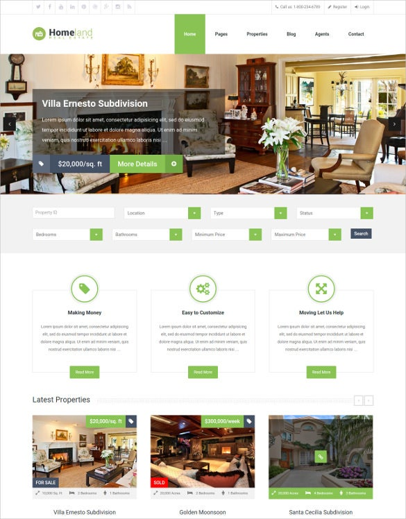 responsive real estate home wordpress theme
