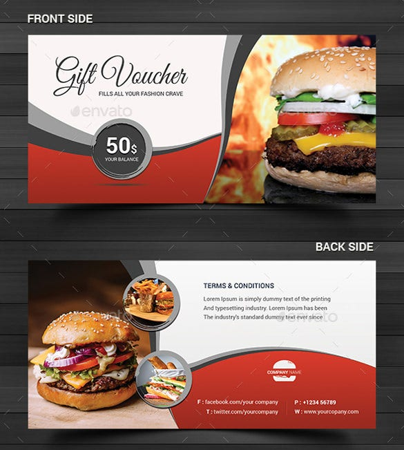 food industry gift coupon template download