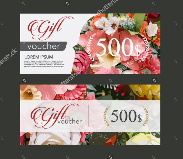 floral theme gift coupon template download