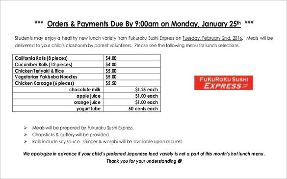 food lunch order form pdf