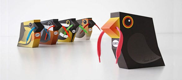bird shaped shoe packaging flies