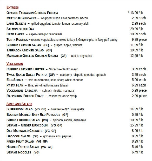 food menu order document free download