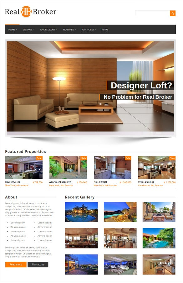 wordpress real estate design template