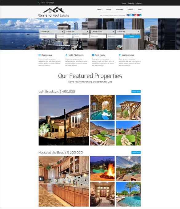real estate home business wordpress theme