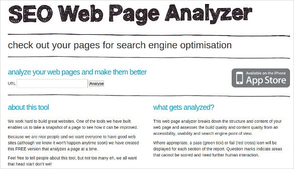 seo web page analyzer tool