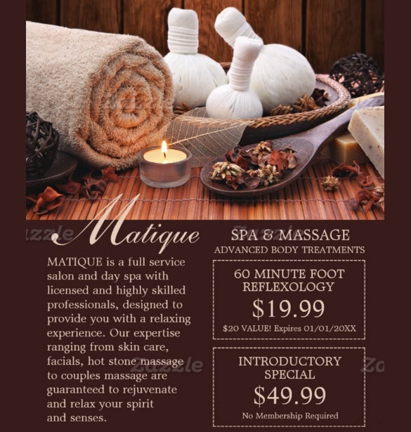 coupon flyer template for massage parlour