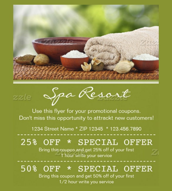 coupon flyer template for spa resort
