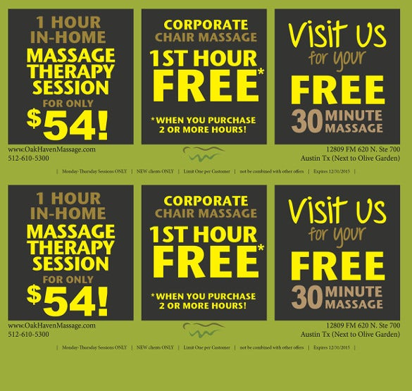 coupon flyer template for massage centers