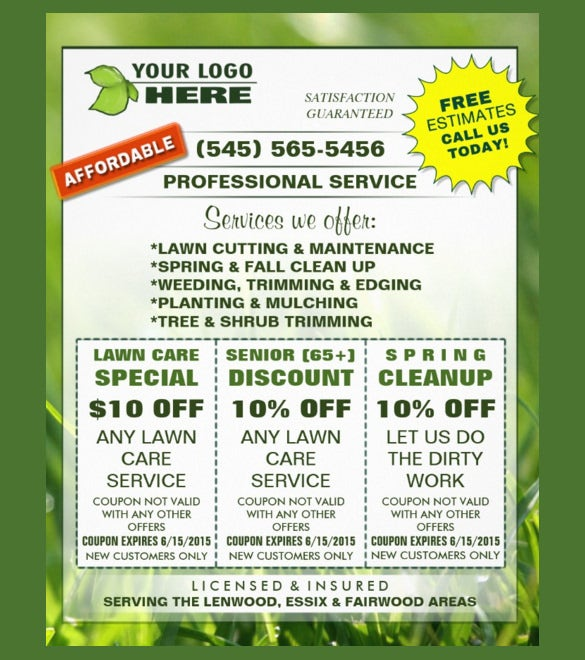 20 coupon flyer templates psd indesign free for Landscaping flyers templates