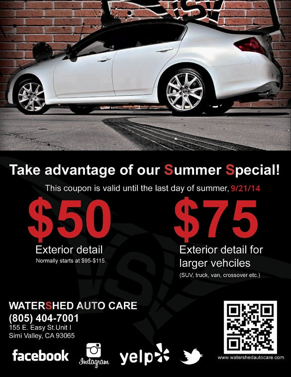 coupon flyer for water shed autocar