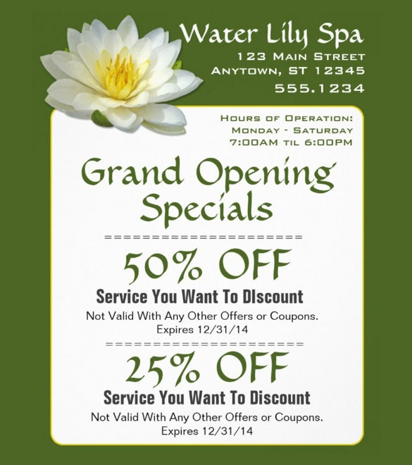 spa coupon flyer template easy download