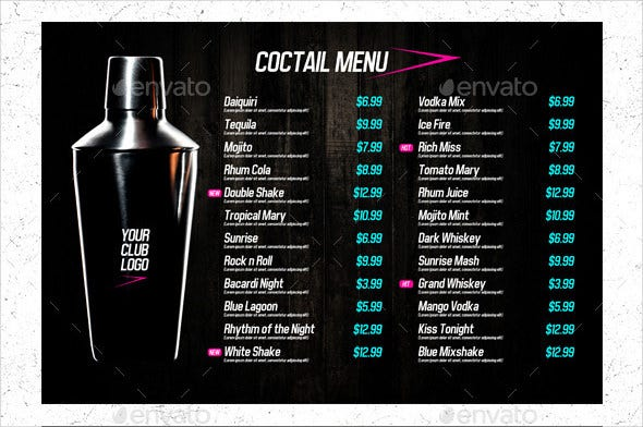 20+ Drink Menu Templates – Free Sample, Example Format Download ...