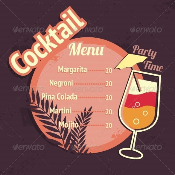 cocktail drinks menu ai illustrator format download