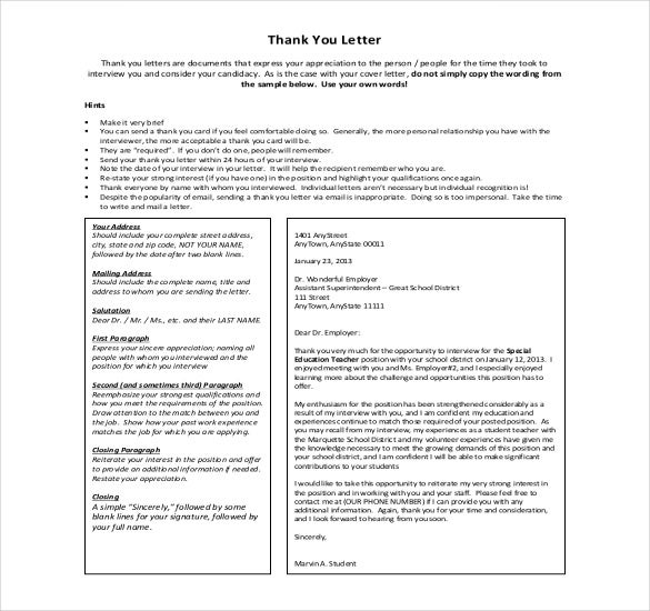 free download thank you letter to boss sample template