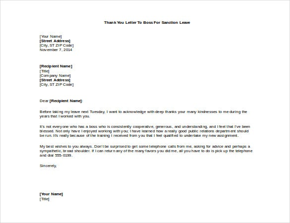 thank you letter to boss free example template