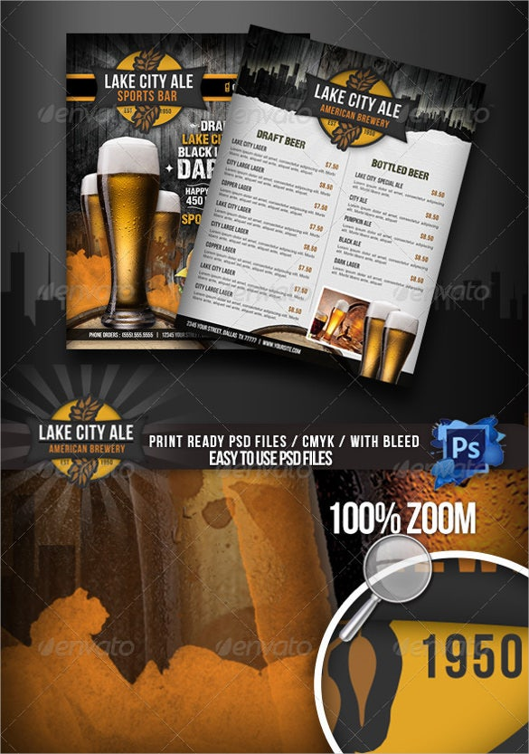 Drink Menu Templates  Free Sample Example Format Download
