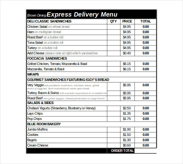 express delivery order form excel