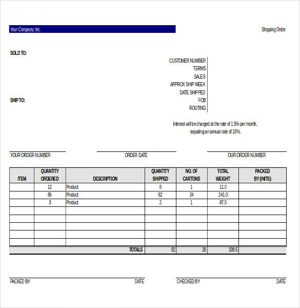 Delivery Order Template 12 Free Excel PDF Documents Download – Shipping Template