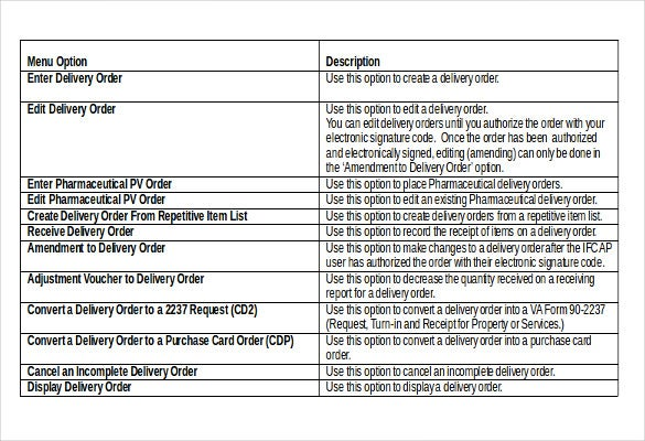 Great Delivery Order Template Free Download