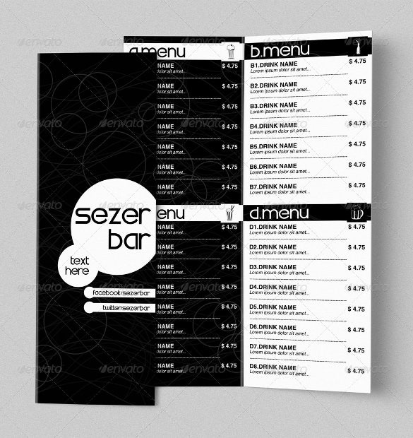 bi fold drink menu vector eps format download1