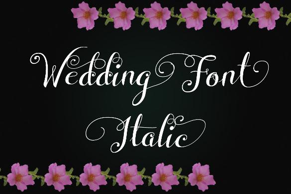 italic wedding font