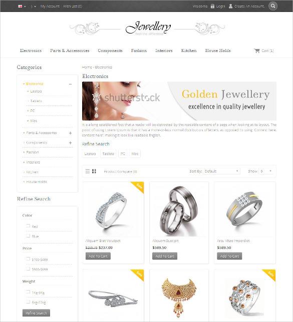 jewellery opencart responsive template