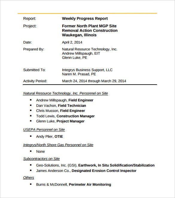 Charming Engineering Weekly Activity Report Template PDF Printable
