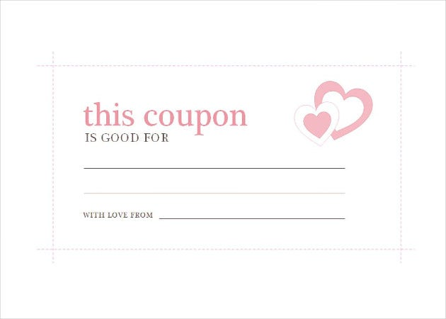 Printable Homemade Coupon Template Download  Blank Coupons Templates