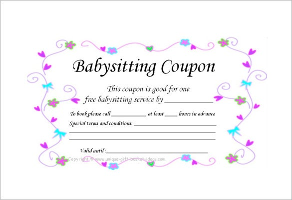 homemade baby sitting coupon easy download
