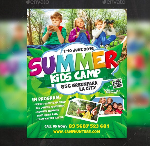 modern summer camp flyer template