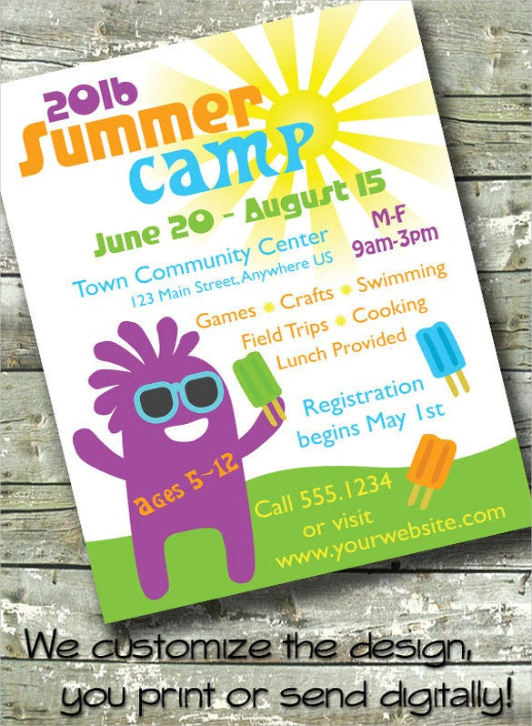 summer camp flyer invitation template