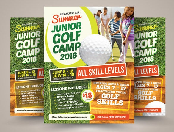3 design variation summer camp flyer template