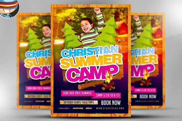 fully editable summer camp flyer