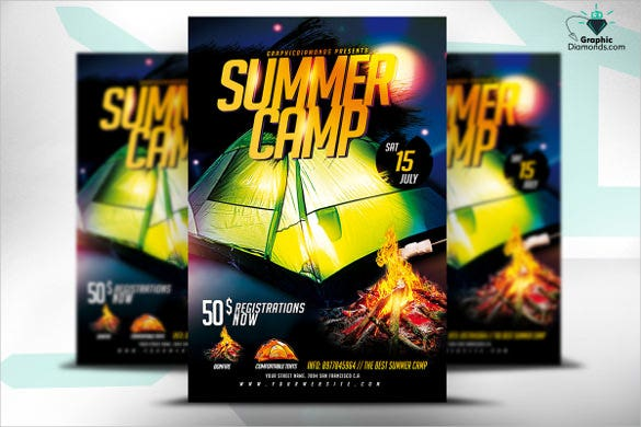 perfect summer camp psd flyer template