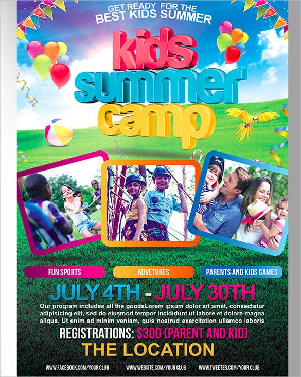 paarents kids games summer camp flyer