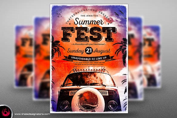 summer camp flyer template bundle