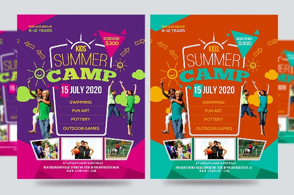 cute kids summer camp flyer template