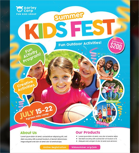 easy to edit summer camp flyer template