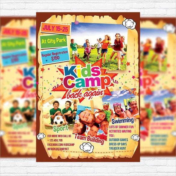 modern design summer camp flyer template1