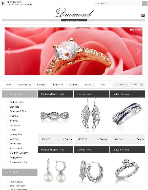 online jewelry store zencart template