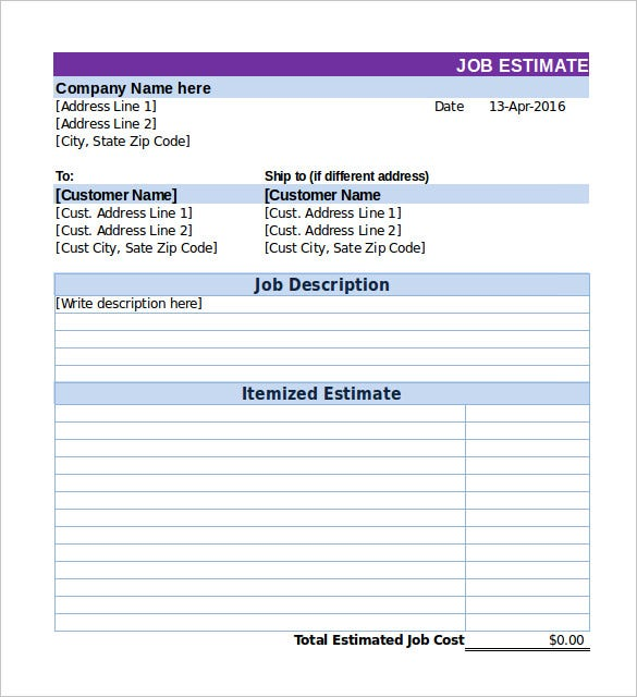 Job Quote Template Work Estimate Free Template Job Estimate