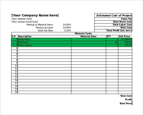project estimation excel template