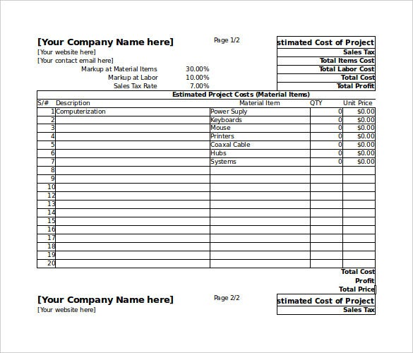 Blank Estimate Template   Free Word PdfExcelGoogle Sheets