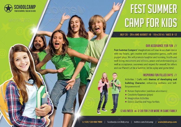 designed kids summer camp flyer template