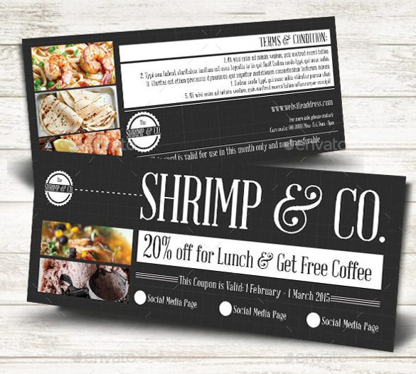 21 business coupon templates free sample example format designed for a shrimp place this sample coupon can help a business get more customers it is designed in basic black and white colors with a section for a accmission