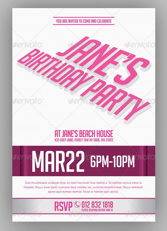 birthday bachelorette party invitation template in psd