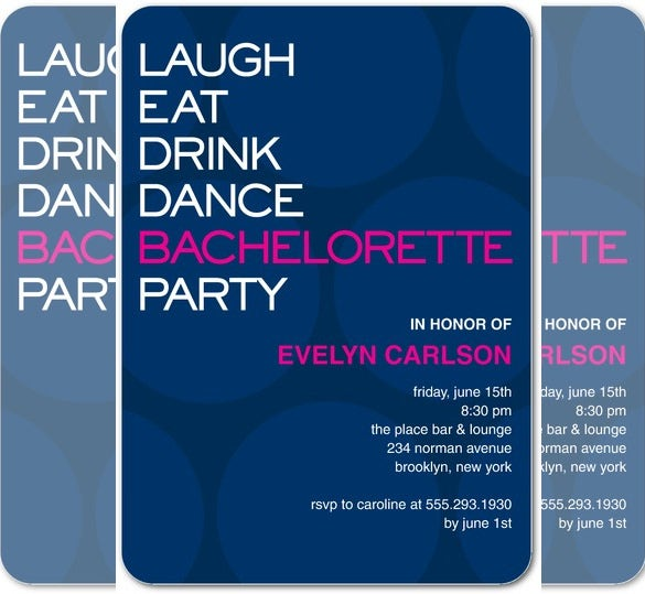 Modern Night Bachelorette Party Invitation Template Download