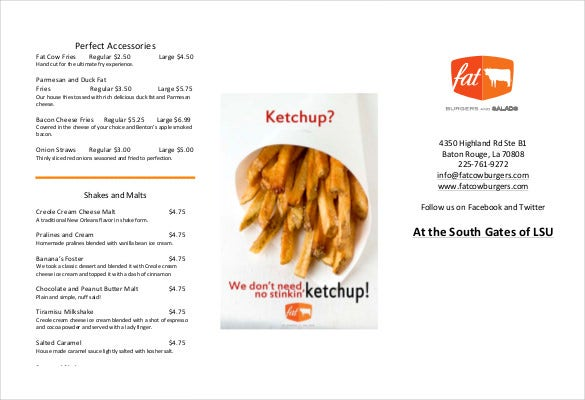 fatcow tri fold menu free pdf template download