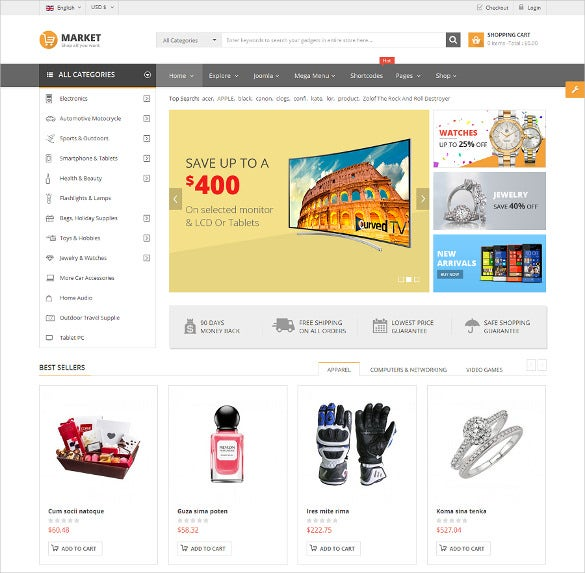 responsive multipurpose jewelry virtuemart theme